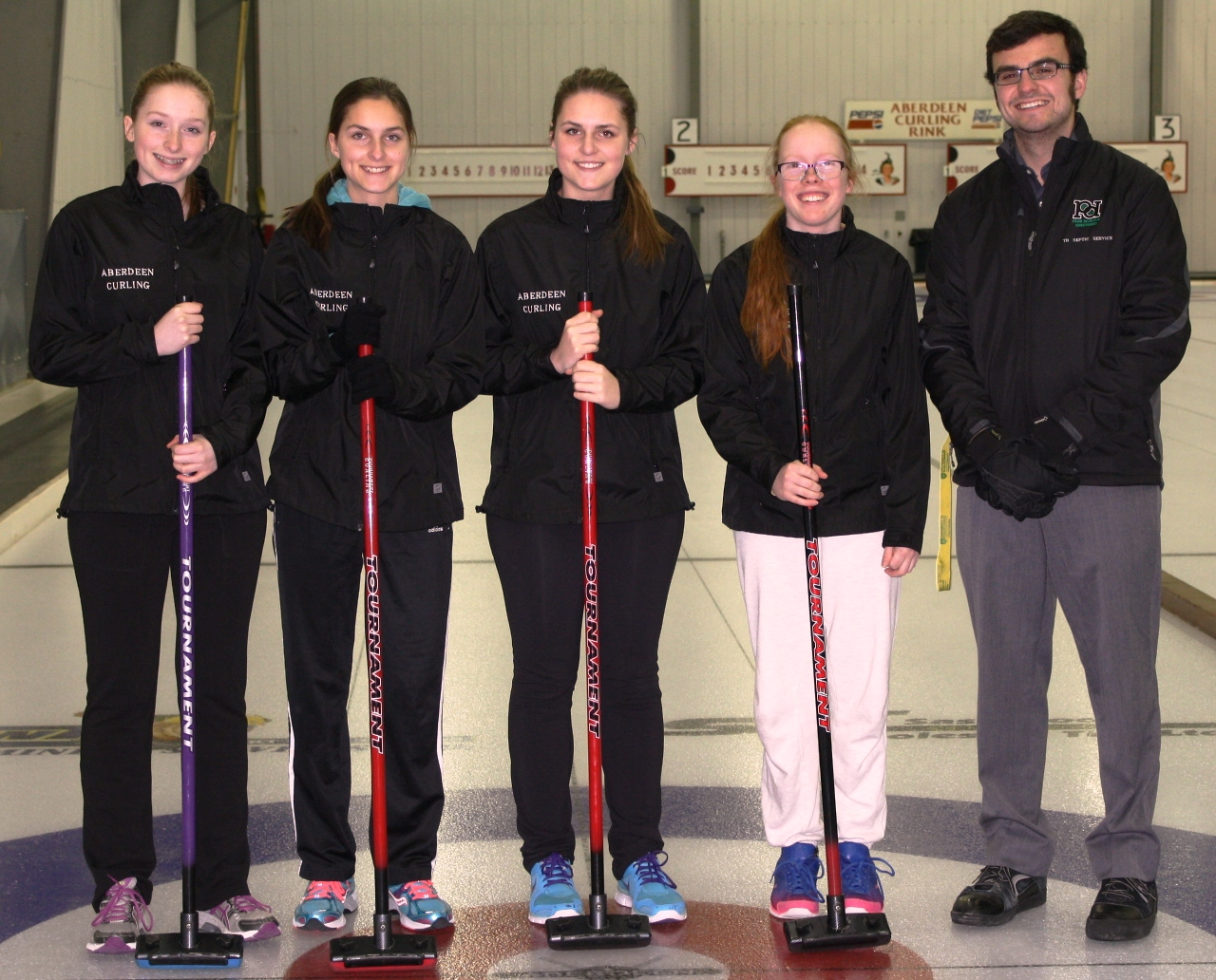 Senior Girls Curling Team Thank-you to Park Derochie Coatings Ltd. and TB Septic Services for supporting our jacket purchase!