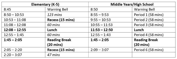 bell schedule picture