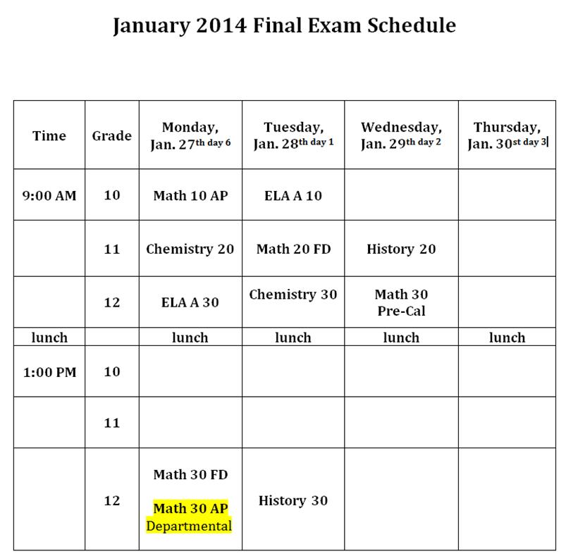 jan exam schedule
