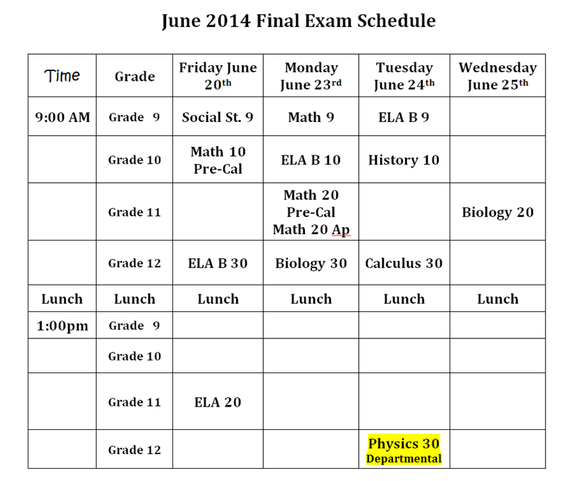 june 2014 final exam schedule final