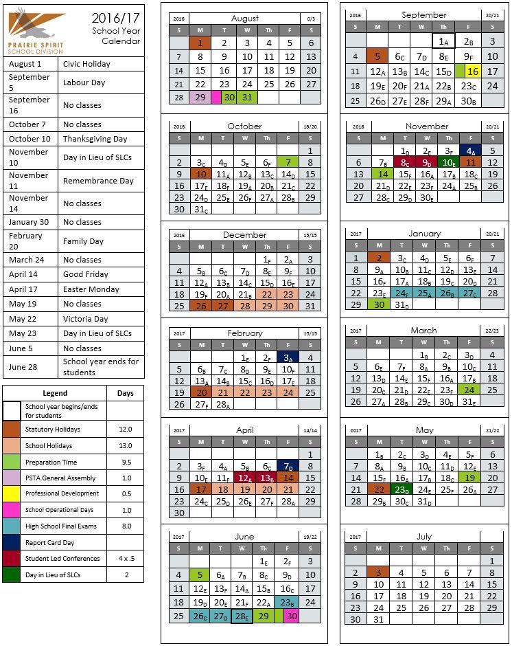 LAS 2016.2017 school calendar - Parents