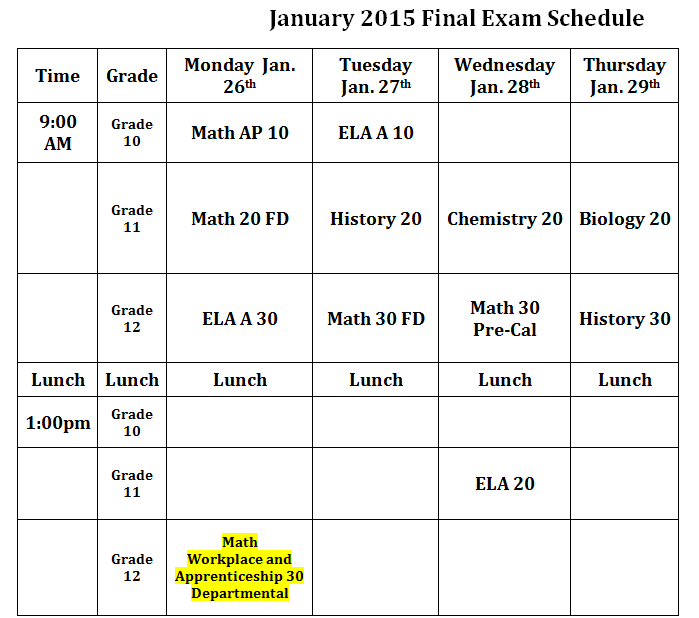 jan 2015 exam schedule