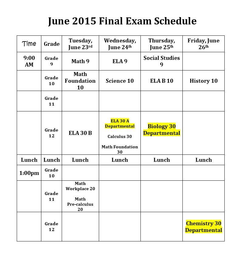 june finals schedule