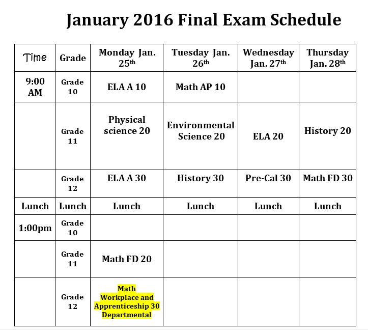 january exam schedules revised