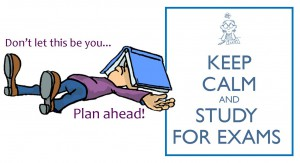 Exams Keep Calm and study student with book