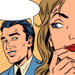 Pop art vintage comic. The man calls the woman retro style comic. Cloud for the text. Gossip and rumors talk about love. Retro style
